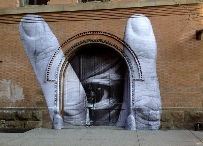 NYC Street Art, JR, Liu Bolin, collaboration, graffiti, awesome art, collabcubed