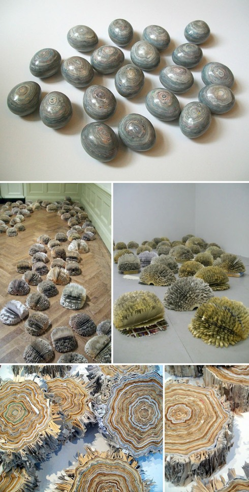 paper sculpture, paper objects. paper eggs, tree trunks, recycled art, installations, julie dodd