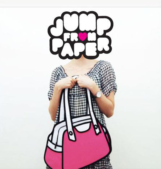 fun handbags and messenger bags that look 2-dimensional, cartoon-like, collabcubed