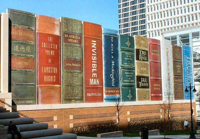 Books as architecture, book spines, clever library design, clever parking garage design, cdfm2 architects, 360 architects