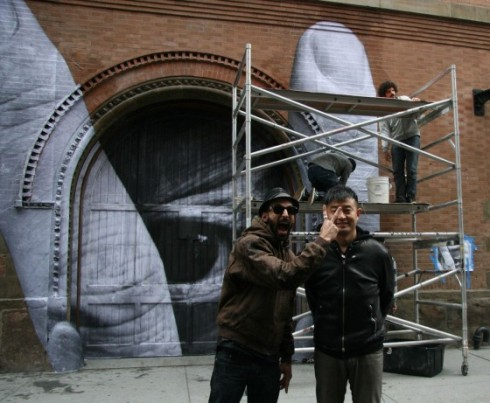 JR and Liu Bolin collaborating in Nolita, Elizabeth and Spring, March 18, 2012