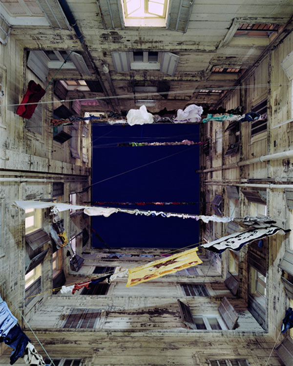 Spanish photographer, Marie Bovo, Marseille courtyard photos, hanging laundry, collabcubed