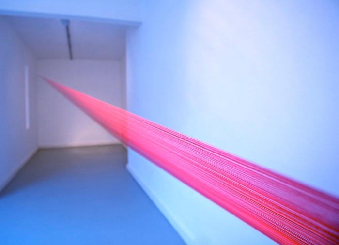 cool art installation, red thread wrapped around gallery, Marsden Woo Gallery, Maltese art, collabcubed
