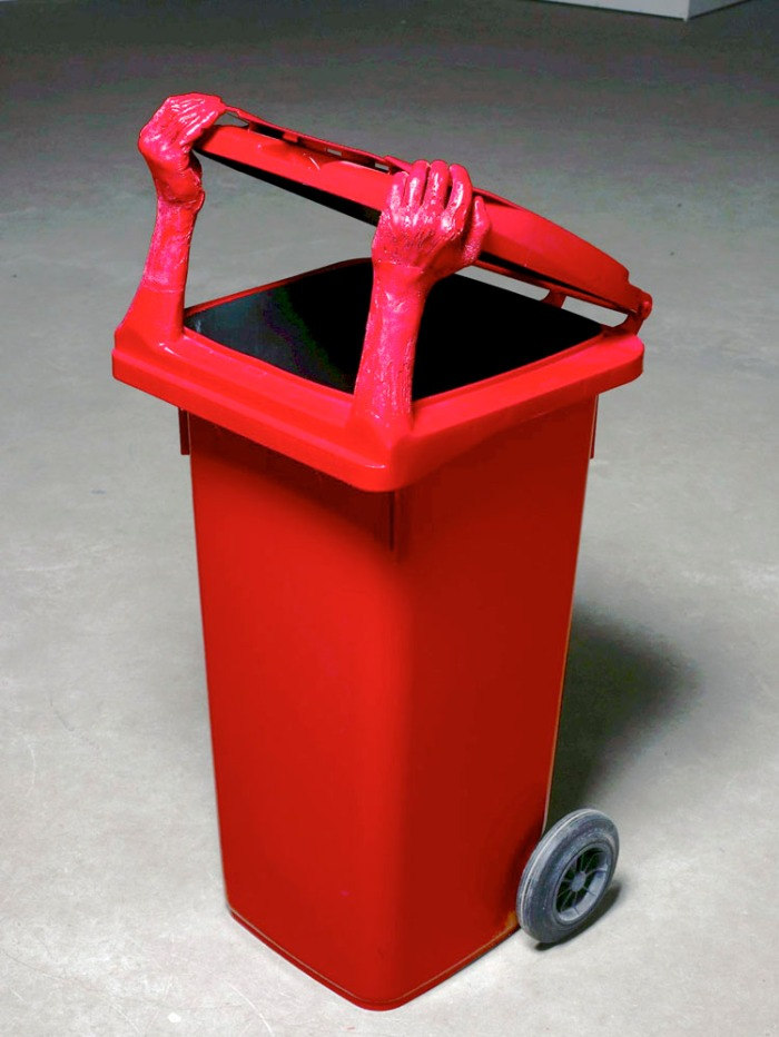 Russian contemporary art, recycled art, dumpster, garbage, humor, Blokhin, Kuznetsov