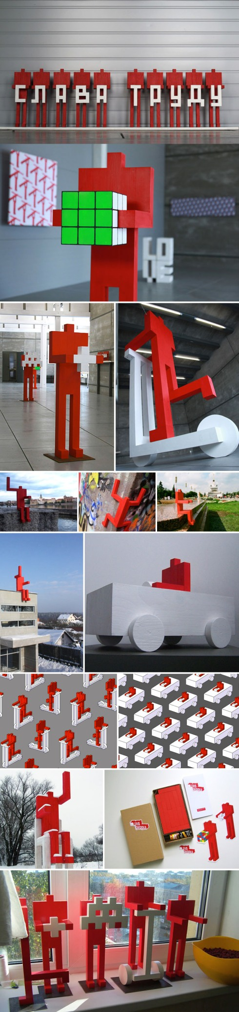 Russian Contemporary Art, Red Men Statues, cool, viral, fun installation, design, collabcubed