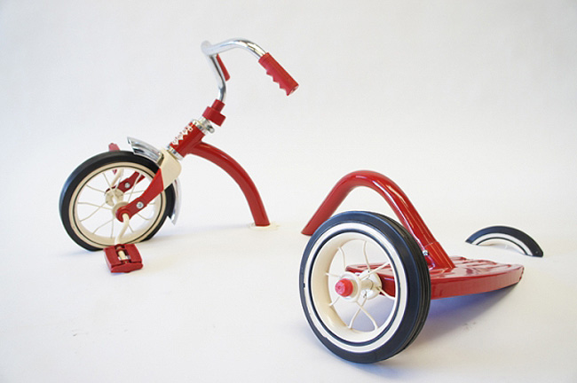 fun sculptures of tricycles, distorted tricycles, Sergio Garcia, Scope Miami, collabcubed