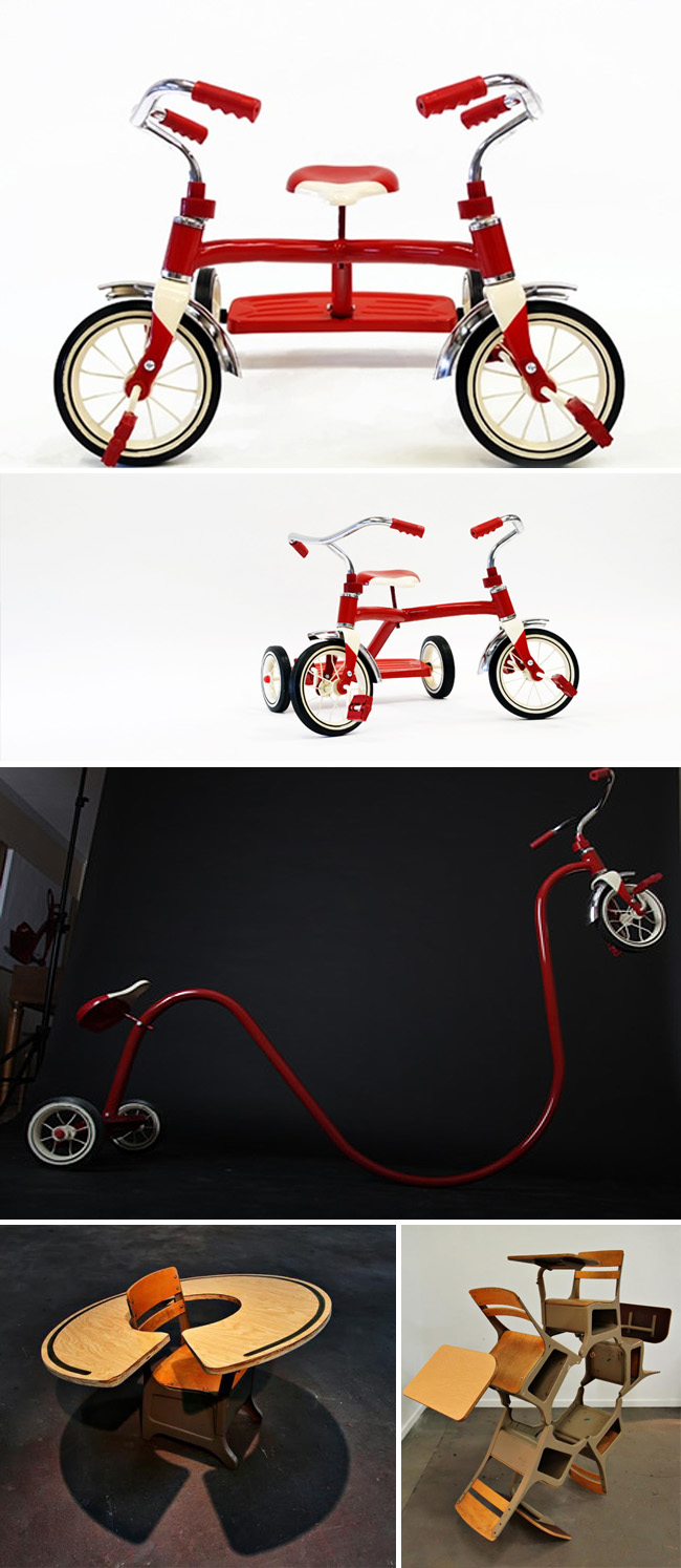 fun sculptures of tricycles, distorted tricycles, and desks, fun art, collabcubed