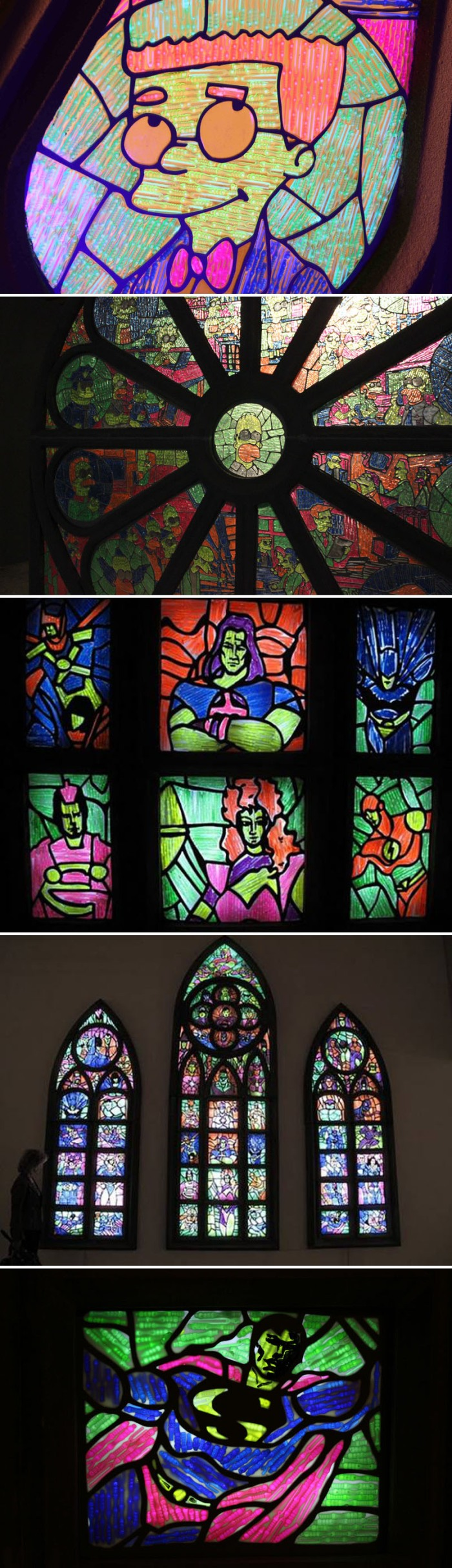 Contemporary Russian Art, Recycle Group, The Simpsons, Stained Glass, Superheroes Stained Glass, Andrey Blohin and Egor Kuznecov