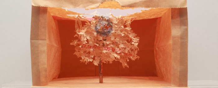 Paper cutout trees, repurposed paper bags. Contemporary Japanese art, collabcubed