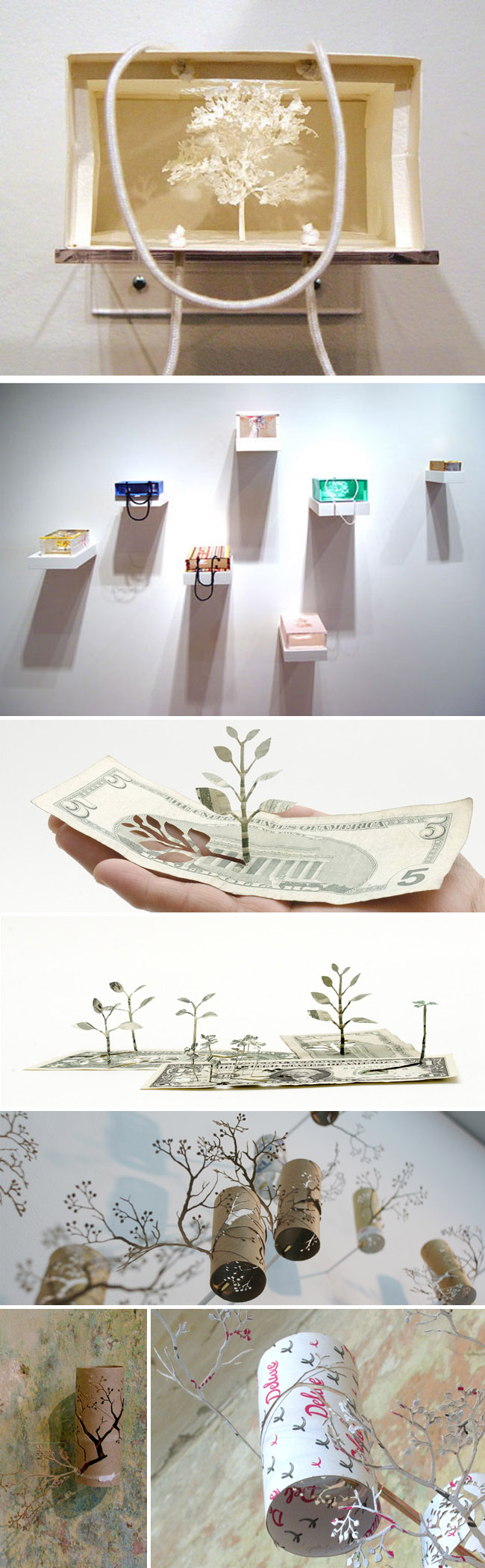 Paper cutout trees, repurposed paper bags. Contemporary Japanese art, money art, toilet paper roll art