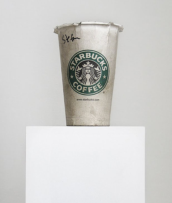 Homeless person's cup, Starbucks coffee cup, Mexican Contemporary art, collabcubed