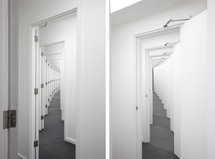 Spatial installations, cool art installations, multiple doors, Aslak Vibæk and Peter Døssing, Hitchcock Hallway