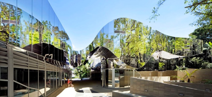 Sustainable architecture, Australia, Charles Wright Architects, reflective facade, collabcubed