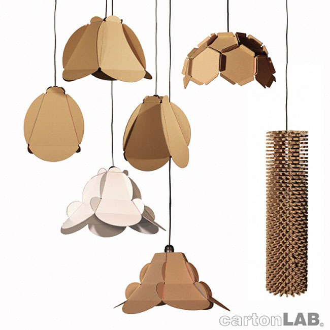 Cardboard lamps, flatpacked cardboard construction, industrial design, clever design