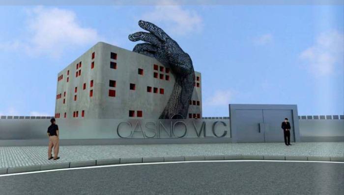 Casino with large hand sculpture, Student Project, Vicente Ortuno, Escuela de diseno Barreira, collabcubed