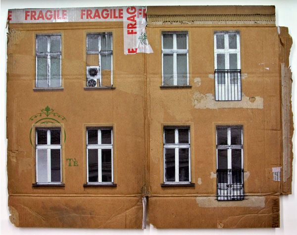 Cardboard paintings of buildings in Berlin, spray paint stenciled on cardboard, Evol, Repeat Offender exhibit at Jonathan Levine Gallery