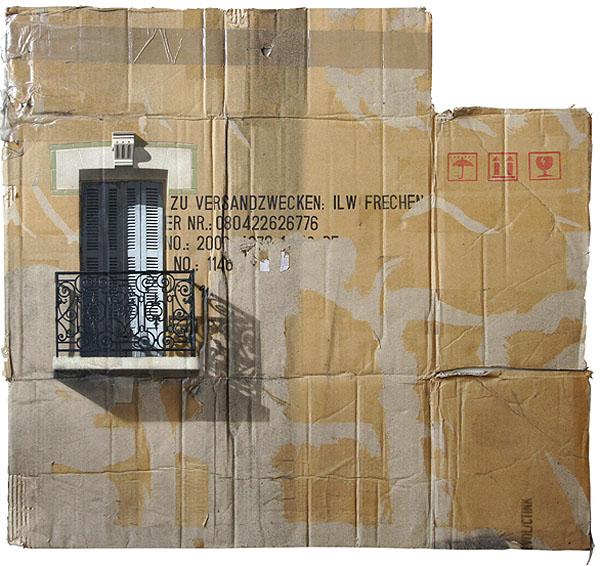 Cardboard paintings of buildings in Berlin, spray paint on cardboard, EVOL, Repeat Offender exhibit at Jonathan Levine Gallery