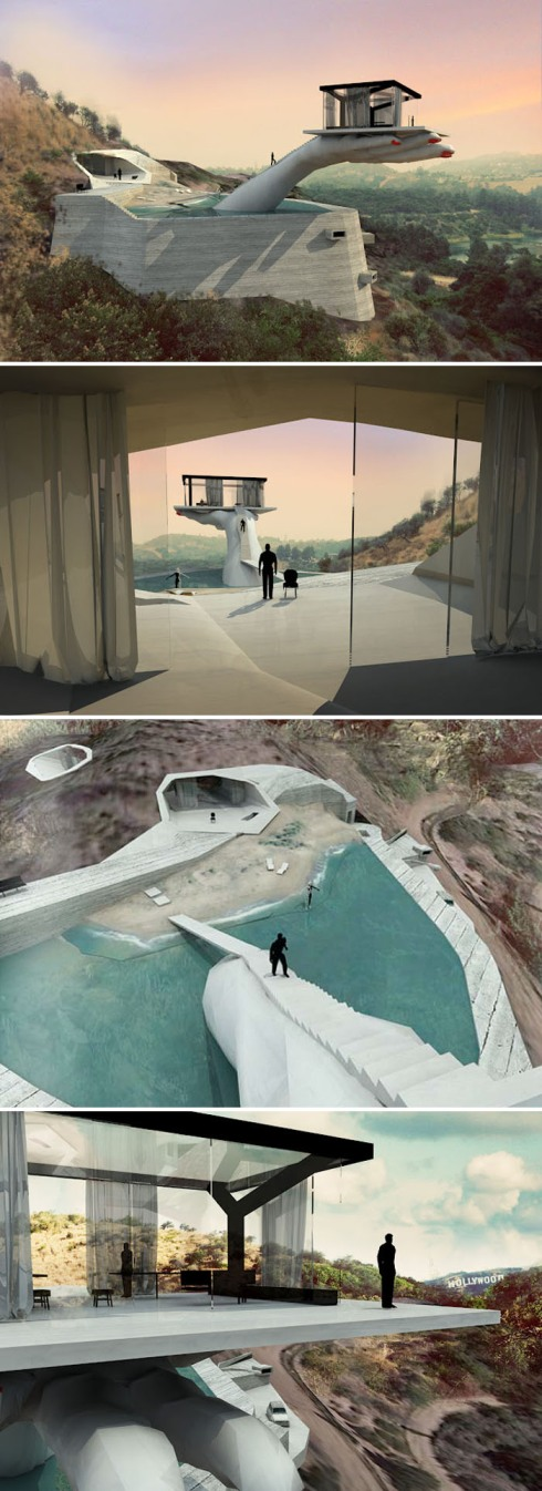 Hand House by Andreas Angelidakis, Proposal, Case Study House, Los Angeles, Hollywood, collabcubed