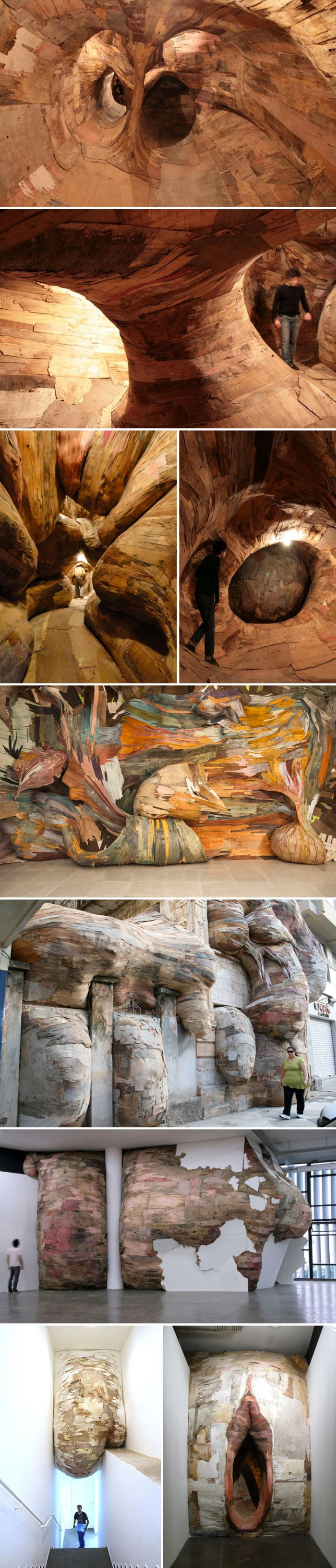 Amazing bursting labyrinthine wood installations, Brazilian contemporary art installations by Henrique Oliveira
