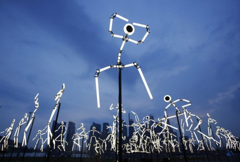 Light installation, static fluorescent bulb stick men that appear to dance, Lumen, iLight Marina Bay, Singapore