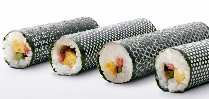 design nori, patterned nori, lasercut, pretty sushi rolls, designy sushi