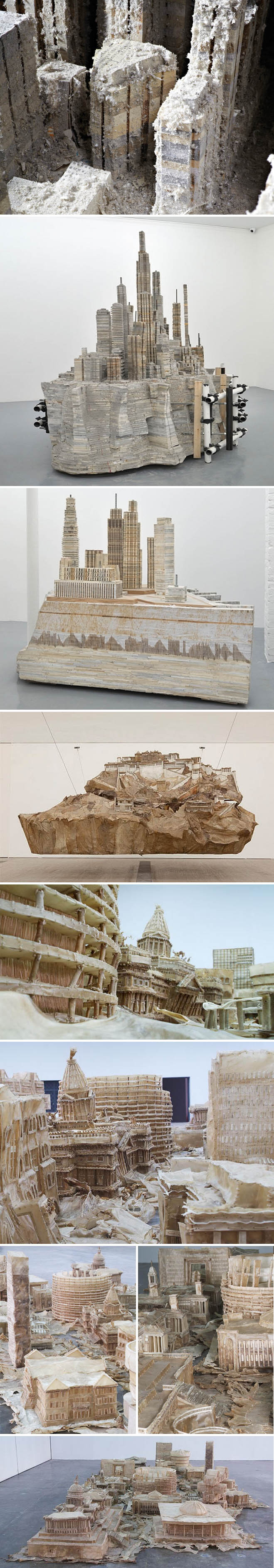 sculptures of cities made from books, steel and wood, dog chews, Foreign, Almine Rech Gallery, Liu Wei