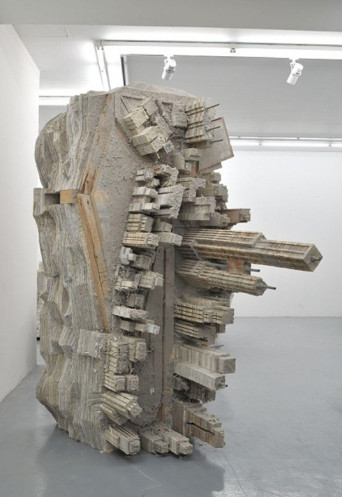 sculptures of cities made from books, steel and wood, Foreign, Almine Rech Gallery, Liu Wei