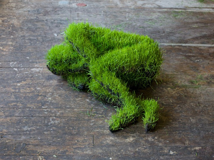 Grass sculptures, contemporary sculpture, cool art installation, mathilde roussel