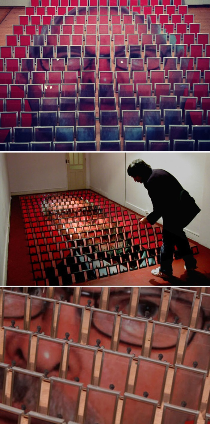 Portrait of father made up of 256 framed images, art installation, Scope NY 2012, collabcubed