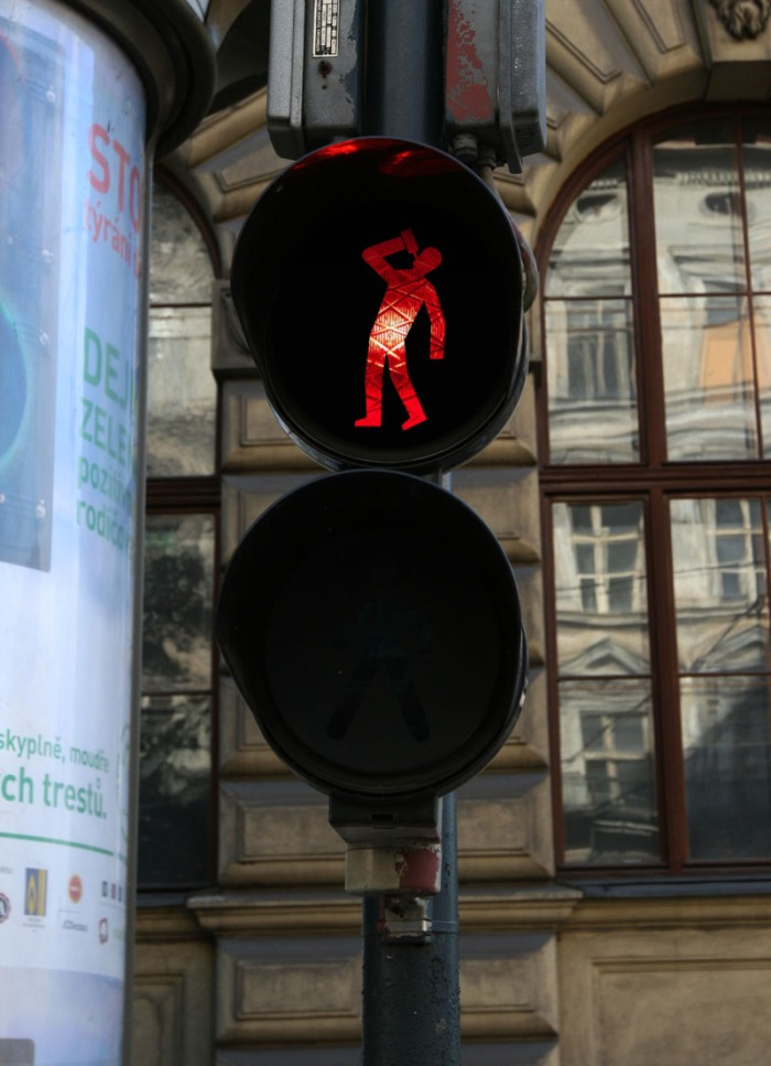 Roman Tyc, Ztohoven, Traffic Light art, switched images of traffic lights, Prague Street Art,