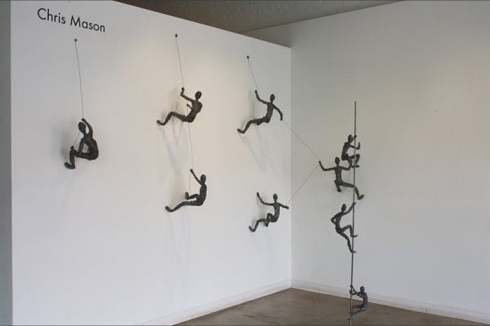 Contemporary wire sculpture, Chris Mason, social climbing and rewired, hanging sculptures made of wire