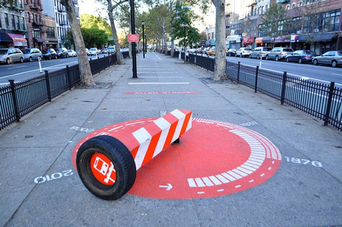NYC, public urban projects, Allen Street rotating benches, street art, public parks
