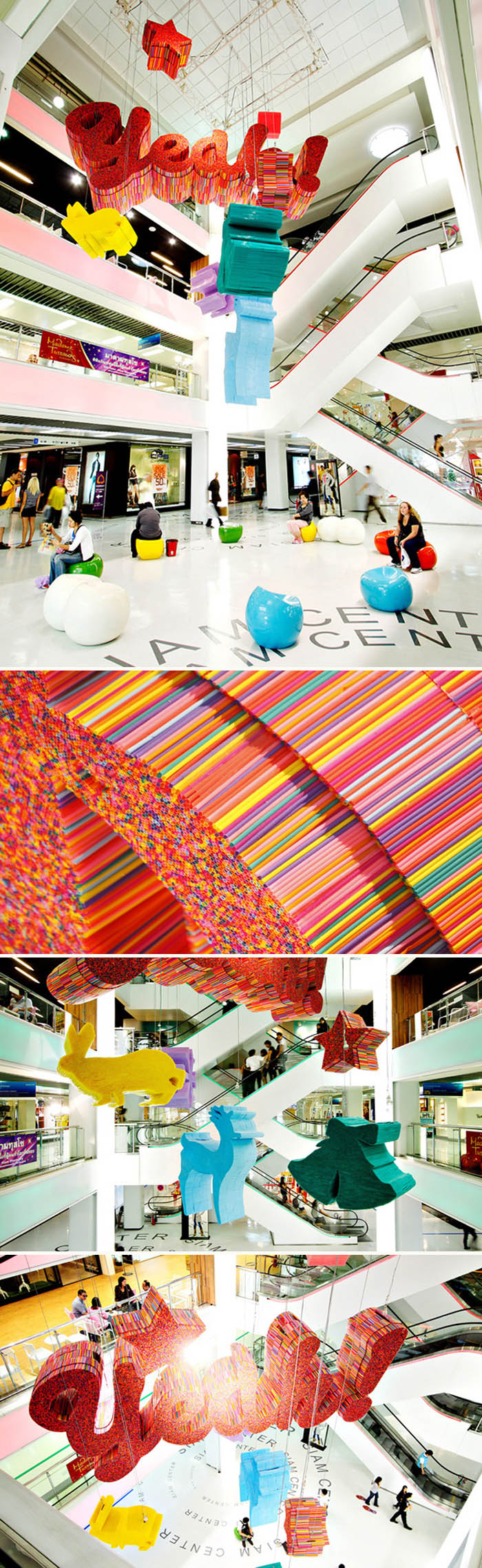 Fun Type Installation made with drinking straws, in Bangkok mall, Yeah!, collabcubed