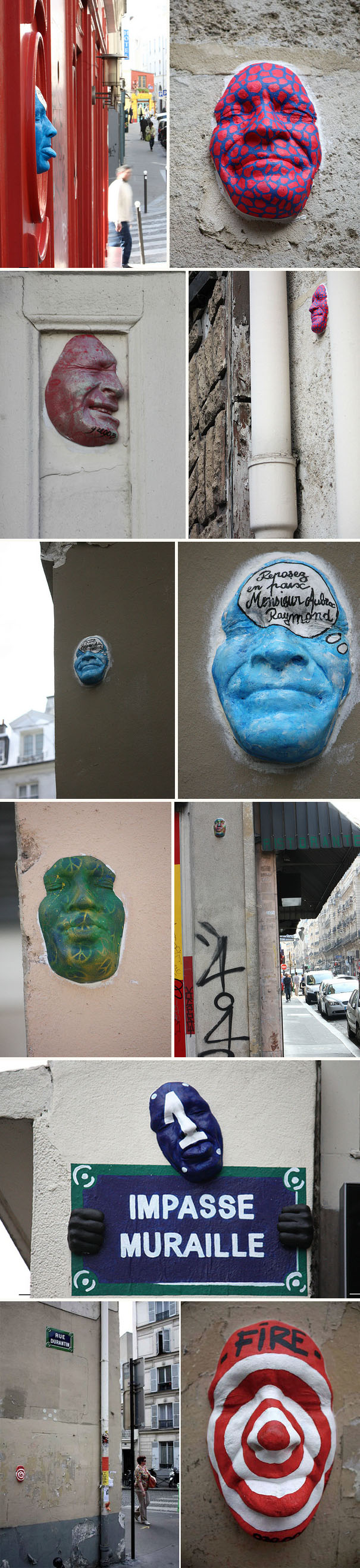 Street art in Paris, painted plaster self-portrait masks, Gregos, graffiti, collabcubed