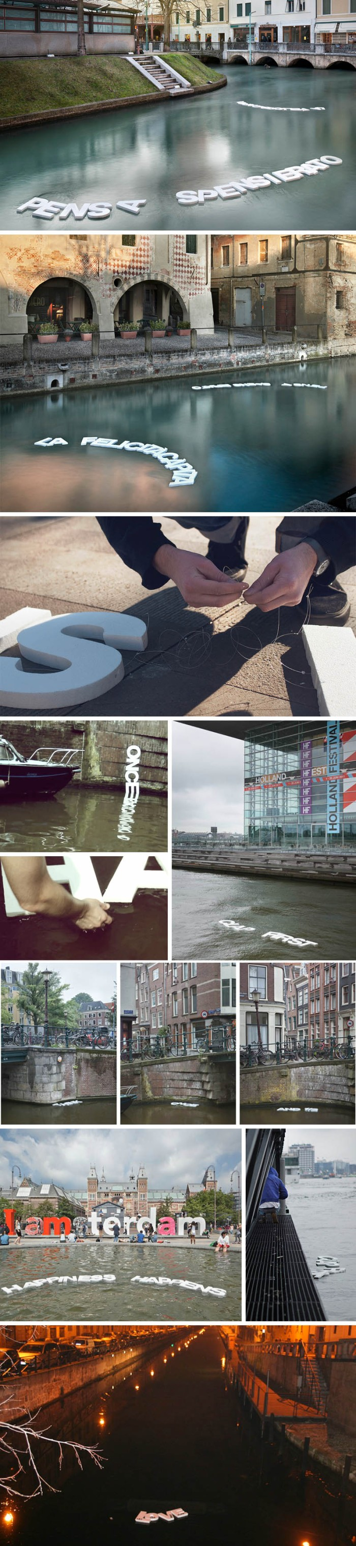 Typography, Typographic installation in Milan, Amsterdam, Words floating on water, Guildor, Street art