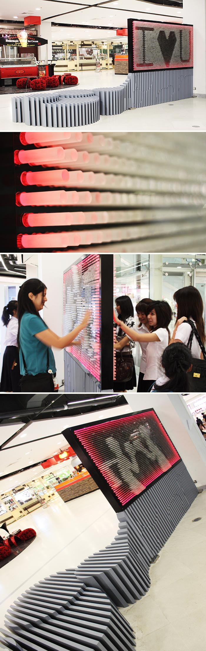 Interactive installation in Bangkok Mall by FarmGroup, fun installation, acrylic pins, collabcubed