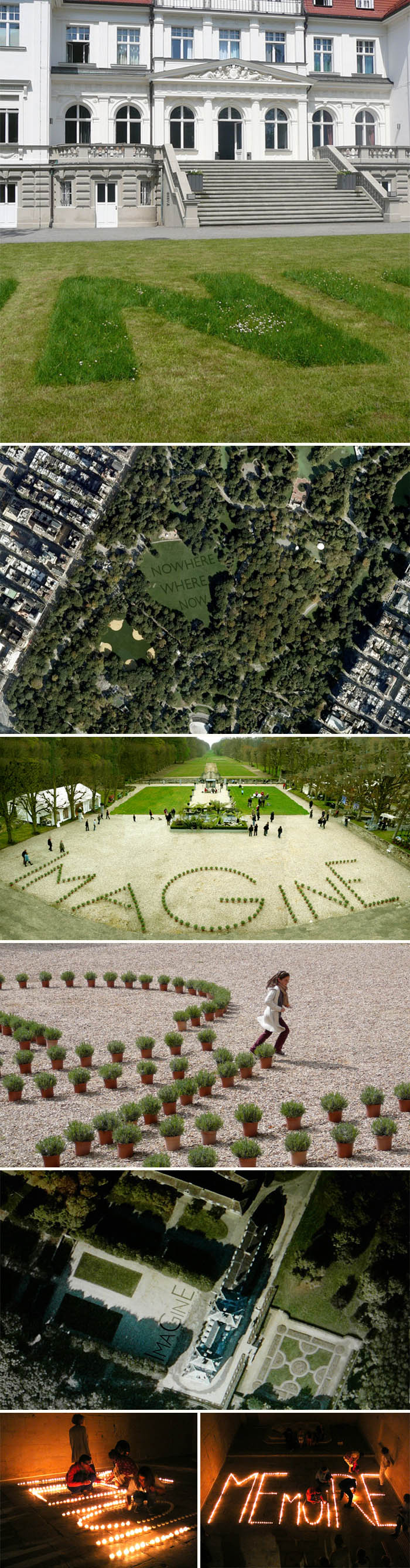 Typography landscapes, wordplay in grass, Imagine, Memoire, French art, Jean Daviot, type installation