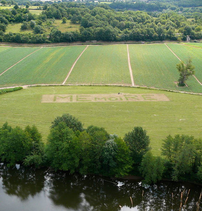 Typography landscapes, wordplay in grass, Memoire, French art, Jean Daviot, type installation
