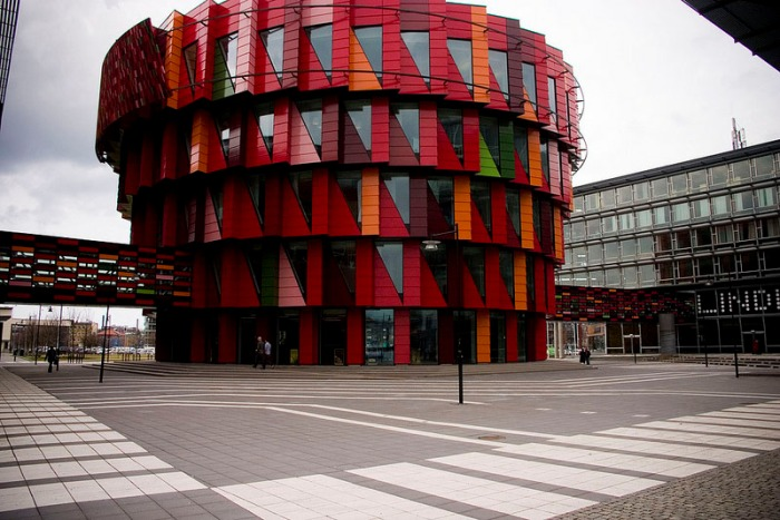 Swedish contemporary architecture, colorful office building. The Cog, Kuggen, Cool building design