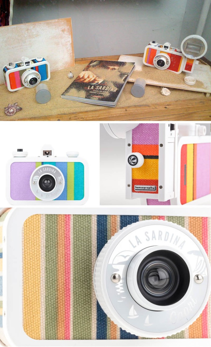Cameras, 35mm camera, sardina, lomography, fun design, beach canvas, flash camera, collabcubed