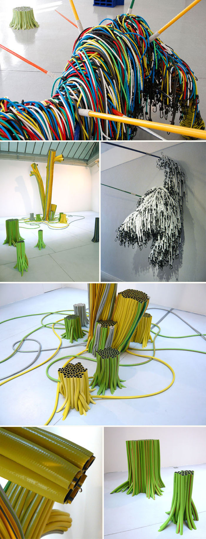 French contemporary sculpture using bungee cords and pvc piping, Laurent Perbos