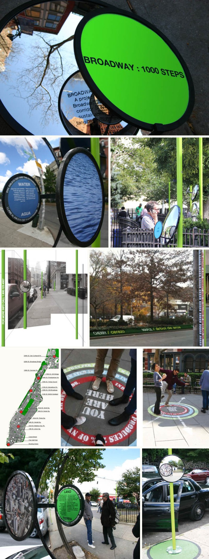 Interactive environment and social sustainability exhibit on the streets of NYC, 2013, Mary Miss, installation art