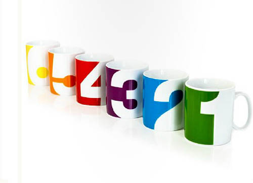 typography on mugs, numbers on mugs, typographic objects, bold numbers, fun items