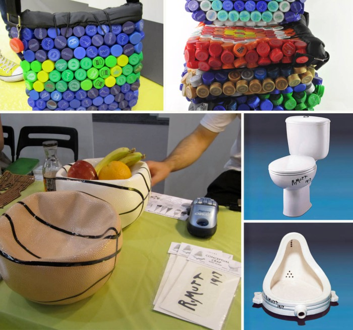recycled bottle caps into shoulder bags, squashed basketball fruitbowls, R. Mutt toilet stickers, Marcel Duchamp