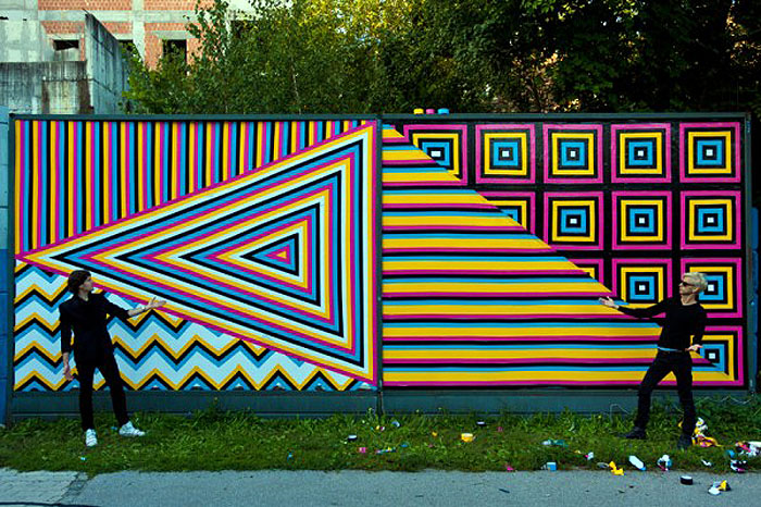 Street art from Slovenia, Murals made with colored tape, graphic designers, multipraktik