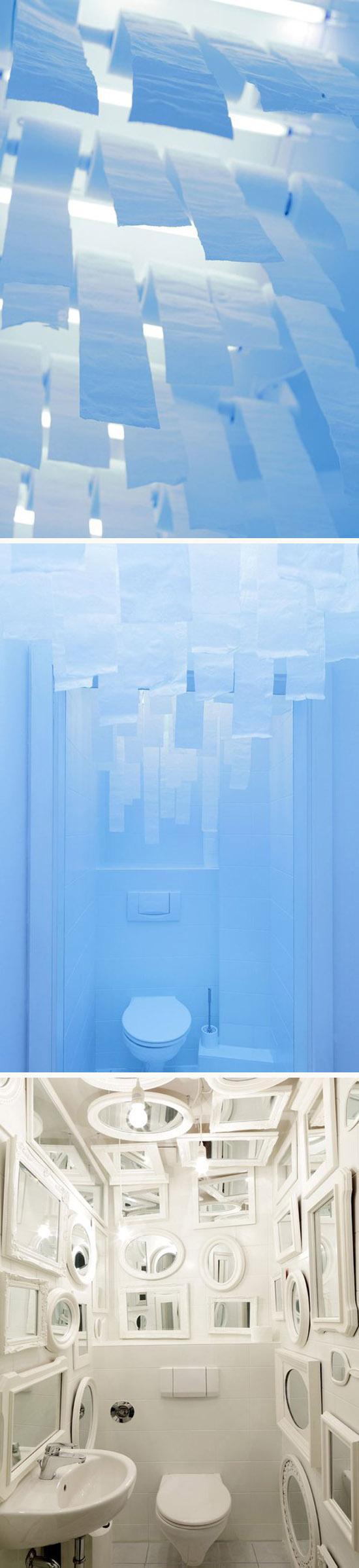 interior design, fun bathrooms, toilet paper sky in bathroom, mirrors in bathroom, Tulp design, Munich, Webguerillas