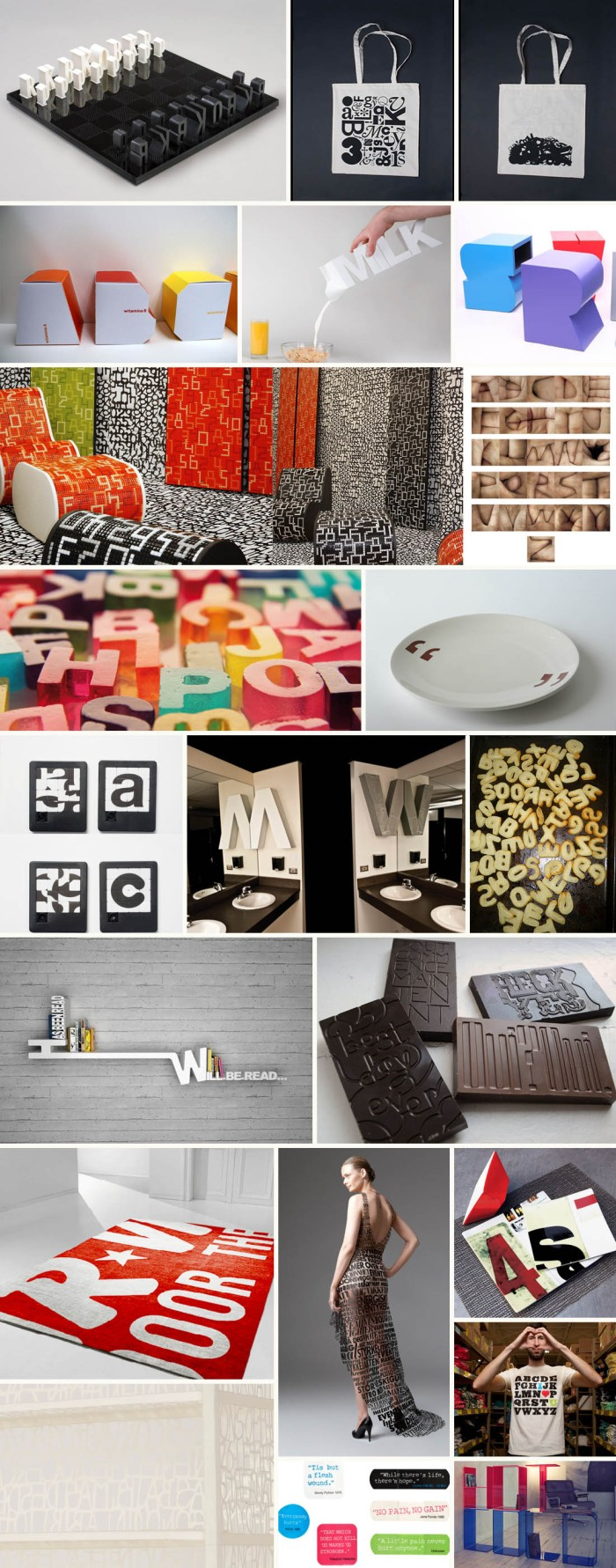 Typography on objects from food to housewares and clothes. Letters, Type, Numbers, typographied objects