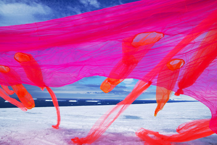 neon mesh fabric on antarctic landscape, Andrea Juan, Contemporary Photography, Argentinean art, Climate Change Concerns