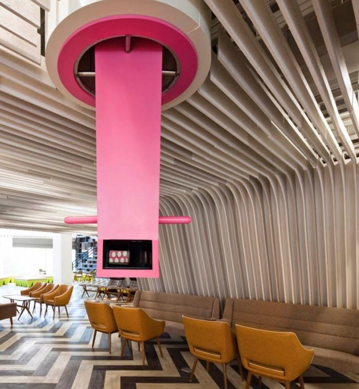 Student Lounge, fun architecture and interior design, colorful design, furniture design, Bangkok University, Thailand
