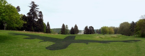 Shadow of a plane painted onto grass, cool installation by Brigitte Zieger, France, collabcubed